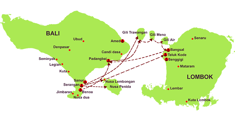 fast boat route from serangan and benoa to gili and lombok